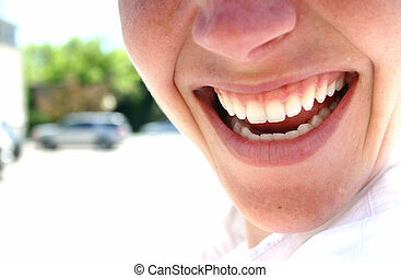Business woman smiling - Business woman in white shirt is...