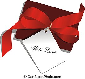 Present, red ribbon
