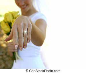 Wedding time 2 - Wedding bride holds out her sparkling ring...