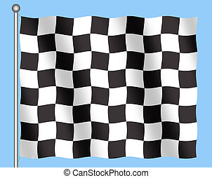Checkered Flag - Illustration of back and white checkered...
