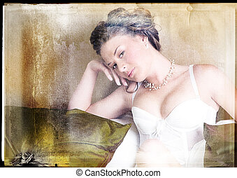 Woman in lingerie on grunge background - woman in corset...