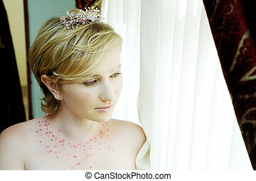 blond bride with pink accessories
