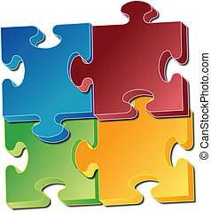 Jigsaw pieces, multicolored modern design