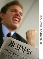 Business success - Business man in red tie and blue shirt...