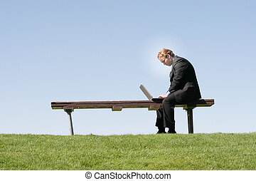 Businessman with laptop 56 - Businessman in black suit and...