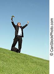 Business success 10 - Businessman in black suit, blue shirt,...