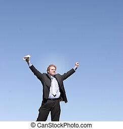 Business success 11 - Businessman wearing black suit, blue...