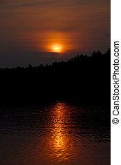 Sunset - orange sunset on lake
