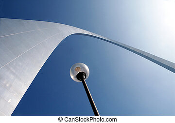 Saint Louis Arch and Lampost - View of the Saint Louis Arch...