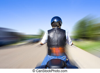 Born to ride - Biker riding his motorcycle