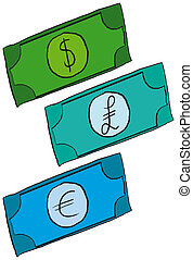Cartoon Money - Dollar, Pound and Euro Cartoon Money