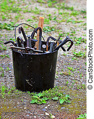 Tool bucket from Civil War reenactment camp