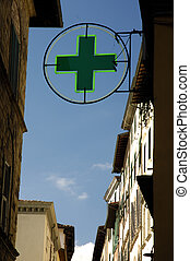 Italian Pharmacy - Pharmacy Sign Framed By Old Buildings