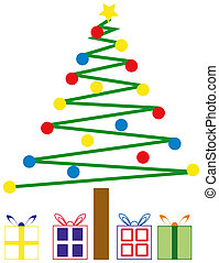 Christmas Tree and Presents - Cartoon Christmas Tree and...