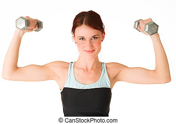Gym #3 - A woman in gym clothes, holding weights.