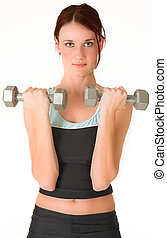 Gym #4 - A woman in gym clothes, holding weights.
