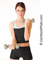 Gym #5 - A woman in gym clothes, holding weights.