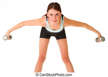 Gym #13 - A woman in gym clothes, exercising with dumbbells.
