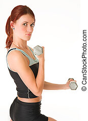 Gym 15 - A woman in gym clothes, training with weights