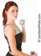 Gym #16 - A woman in gym clothes, training with weights
