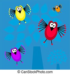 funky retro birds - cute bird background