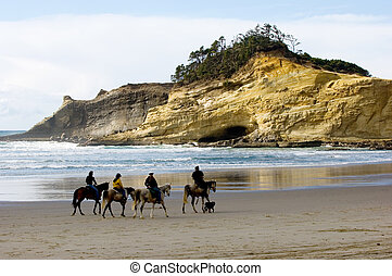 Horseback riding - Cannon beach, Oregon coast, USA