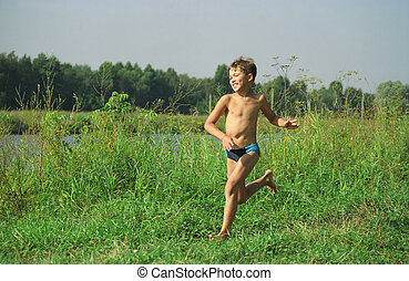 Running - Summer, august River Moscow