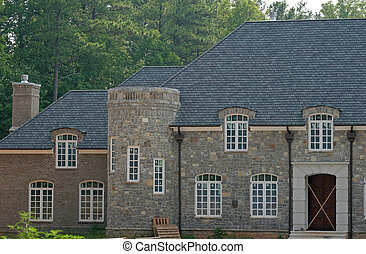 Stone Construction - Stone mansion under construction