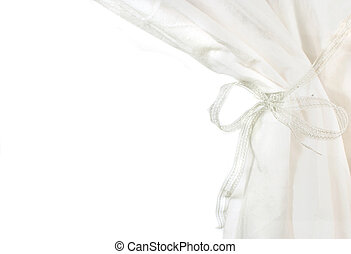 white curtains drawn back on white background