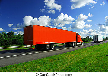 Truck speed highway - Bright red truck on road, blurred...