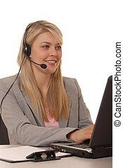 Help Desk Lady - Business lady at computer help desk