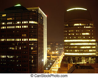 Skyscrapers in the night, Des Moines, Iowa