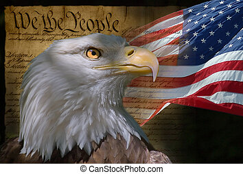We the People - US Flag, Bald Eagle and Constitution montage