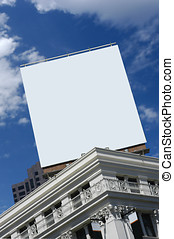 blank billboard on top of city building