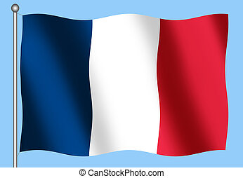 French Flag on a Blue Background - French Flag waving on a...
