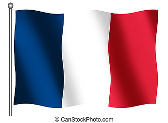 French Flag on white backgorund - French Flag waving on a...