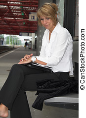It\\\'s taking forever - Businesswoman pulling an irritated...