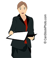 Hand Outs - Business woman during presentation