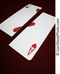 Love Cards - Ace and Two of Hearts cards split apart