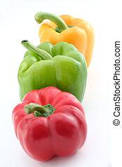 verde, amarela, vermelho, pimentas