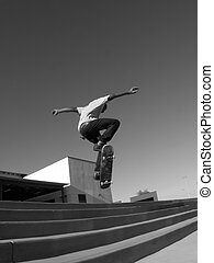 Switch FS Ollie - BC Ollie over five stair. black and white...
