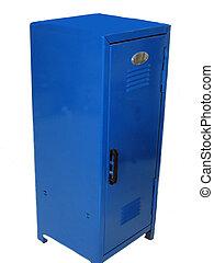 School Locker - Blue school locker with door closed, over...