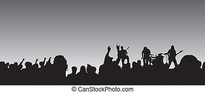 Panoramic Concert - Panoramic concert silhouette with a four...
