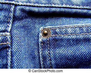 Jeans rivet - Blue jeans rivet closeup