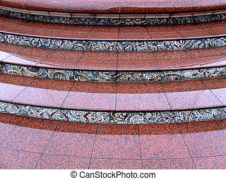Marble stairs - Red marble stairs with mosaic ornaments