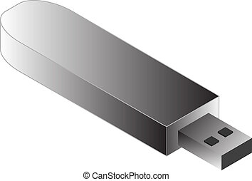 USB Pendrive illustration, 3d isometric style