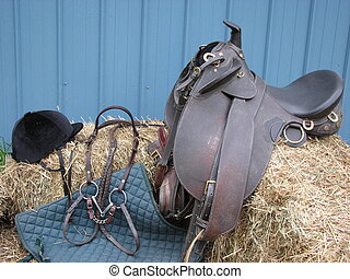 Equestrian Tack - Well worn equestrian tack waits for...