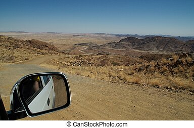 Car mirror - The serpentines down the spreetshoogte pass in...