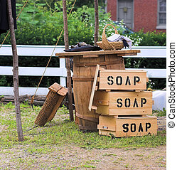 Soap boxes at Civil War reenactment camp