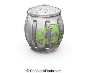 Recycling bin - 3D render of a recycling bin
